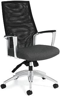 Accord Mesh High Back Chair Granite Rock Fabric/Polished Aluminum Frame Dimensions: 25