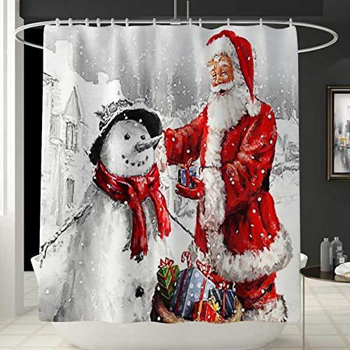 Handfly Cortina de Ducha de Navidad Santa y muñeco de Nieve, Alfombrilla de baño Antideslizante, Alfombrilla de Pedestal, Alfombrilla de Inodoro, Juego de baño navideño