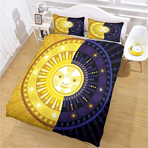 CLQPYQ Super King Size Duvet Cover Sets - 3 Pcs 3D Creative Sun Pattern Bedding Set 260X230cm With Zipper Closure With 2 Pillow Covers, Ultra Soft Fluffy Microfiber Quilt Cover Sets