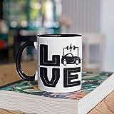 DKISEE Taza eléctrica del coche, tazas de café de los propietarios del coche eléctrico, regalo lindo de los coches eléctricos, regalos del coche híbrido, taza del campo, vaso