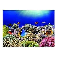 魚飼育用 水槽 水族館 バックグラウンド ポスター 3D 防水 自己接着 全6サイズ - 約122×46cm