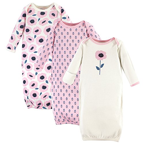 Touched by Nature Baby Organic Cotton Gowns, Blossoms 3-Pack, 0-6 Months
