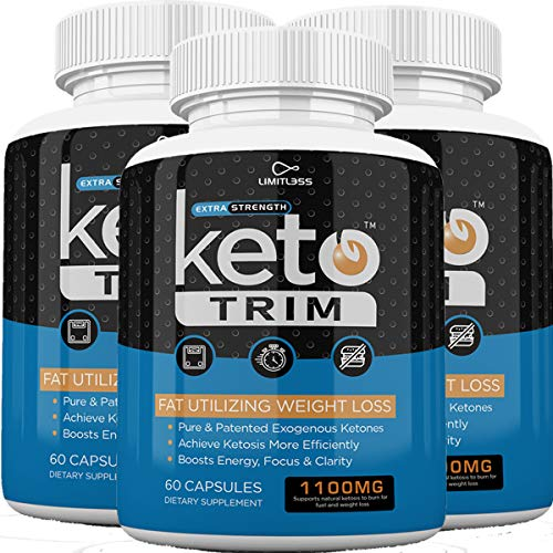 Keto Trim Pills - Fat Utlizing Weight Loss - Limitless Labs - 1100MG - 180 Capsules - 90 Day Supply