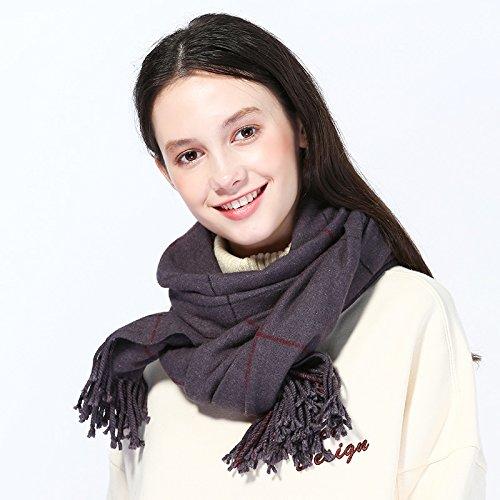 RENYZ.ZKHN Plaid Scarf Shawl Collar All-Match Dual-Purpose Female Winter Classic Soft Fringed...