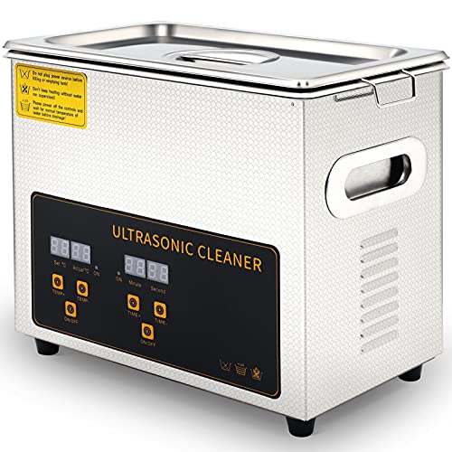 3L Ultrasonic Cleaner, Sonic Cavitation Machine with Heater and Timer ,Professional 40kHz Retainer Denture and Jewelry Cleaner for Glasses Watches Electronic Dental Tools More