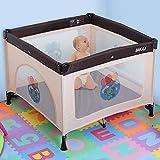 Bakaji Cuna de bebé cuadrada con estructura de metal plegable portátil con apertura de cremallera y funda de 100 x 100 x 76 cm (marrón)