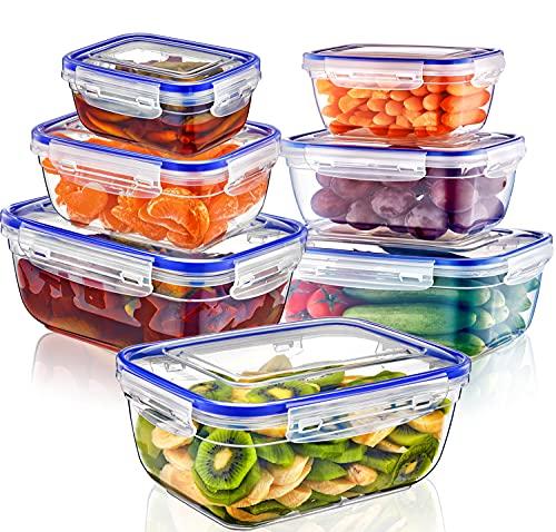 Magy Recipientes de Plástico Alimentos 14 Pieza (7 envase, 7 Tapa) Juego De Contenedores Herméticos, Loncheras Sin BPA, Aptas para Lavavajillas, Aptas para Microondas, Congelador