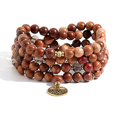 108Pulsera para el Cuello, Piedras Preciosas semipreciosas, Cuentas de Madera, Collar de meditación para Yoga para Mujeres y Hombres