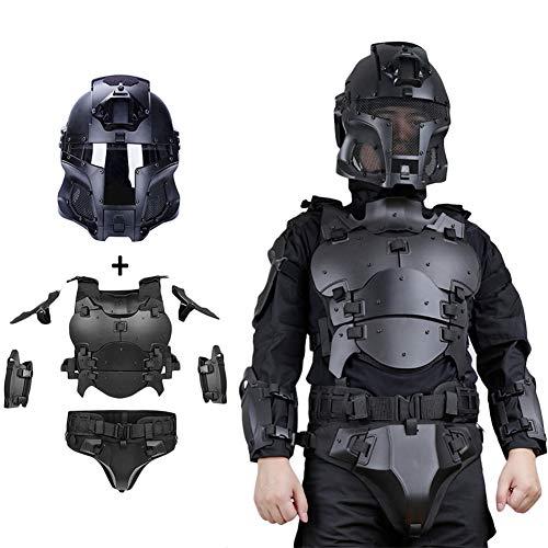 WTZWY Conjunto de Casco y Armadura de máscara Facial Militar táctica, Equipo de protección Molle Chaleco Deportivo Ajustable Multifuncional para Exteriores, Disfraz de terminador,BK