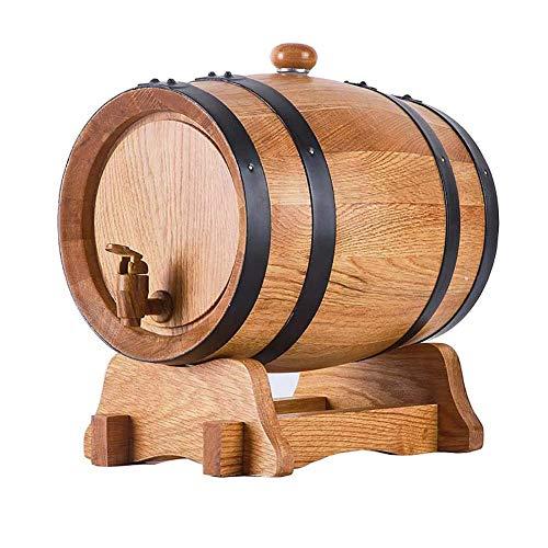 GPWDSN Barril de Vino de Madera de Roble con Soporte, dispensador de Vino de Mesa de Estilo Vintage para Cerveza oporto de Whisky, Barril de Vino de Roble Envejecido Mini Barril (A, 5L), elaboració