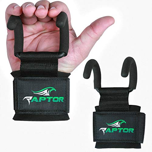 Armor Raptor Weight Lifting Training Gym Hook Grips Straps Gloves Wrist Support Cross Fitness (Black)