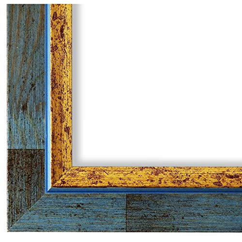 Online Galerie Bingold Bilderrahmen Blau Gold 50x70-50 x 70 cm - Modern, Shabby, Vintage - Alle Größen - handgefertigt - WRF - Catanzaro 3,9