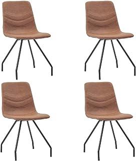 Festnight Sillas de Comedor 4 Unidades Sillas de Cocina Salon Cuero Sintético Marrón 45,5 x 53 x 87 cm