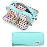Yordawn Estuche Escolar Estuche de Lápices de Gran Capacidad con 3 Compartimentos Papelería de Oficina útiles Escolares Organizador Maquillaje para Niñas Niños Adolescentes Adultos (Azul claro)