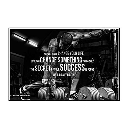 DuanWu Cotizaciones Body Building Gym Muscle Canvas Prints Posters Wall Art Painting Decoraciones de Pared para la decoración de la Pared de la Sala de Estar -50x80 cm Sin Marco 1 PCS