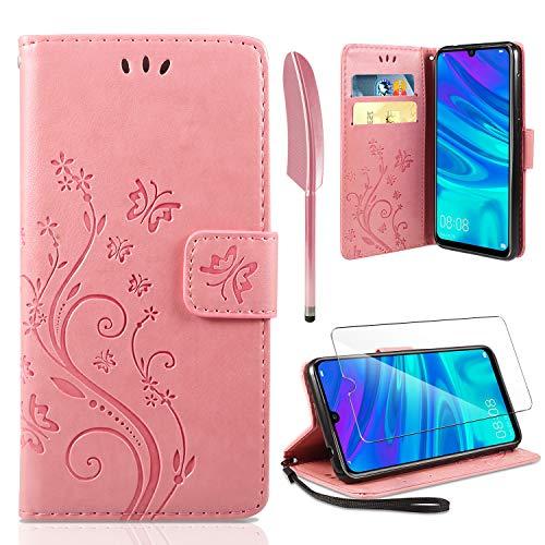 AROYI Lederhülle Huawei P Smart 2019 Flip Hülle,Honor 10 Lite/P Smart 2019 Wallet Hülle Handyhülle PU Leder Tasche Hülle Brieftasche mit Schutzhülle für Huawei P Smart 2019/Honor 10 Lite Rosa