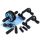 TOMSHOO 5-in-1 AB Wheel Roller Kit AB Roller Pro with Push-UP Bar, Hand Griper, Jump Rope and Knee...