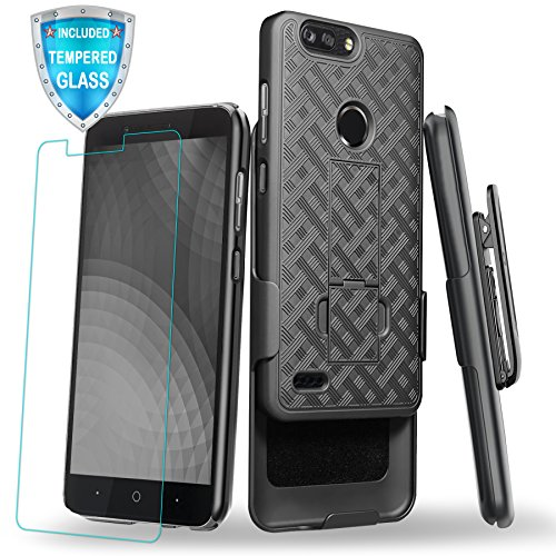 ZTE Blade Z Max Case, Cellularvilla Holster Belt Clip Kickstand Case with Tempered Glass Screen Protector for ZTE Blade Zmax Pro 2, ZTE Sequoia, ZTE Blade Z Max, ZTE Z982 (Black)