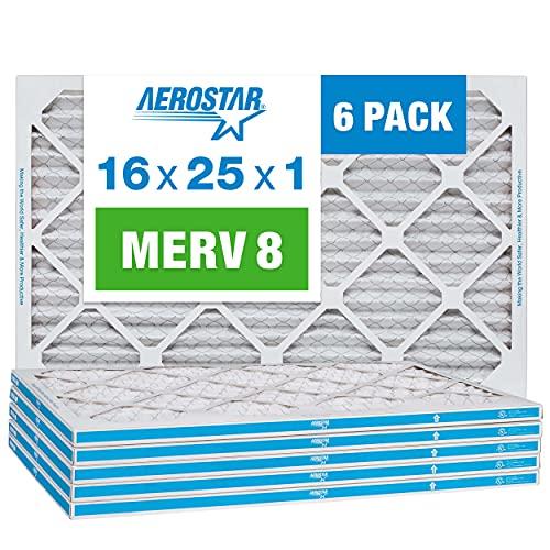Aerostar 16x25x1 MERV 8 Pleated Air Filter, AC Furnace Air Filter, 6 Pack (Actual Size: 15 3/4'x 24 3/4' x 3/4')
