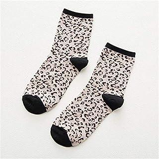 Calcetines de algodón de las mujeres Calcetines de mujer Calcetines de otoño Algodón de color Leopardo Calcetines de invierno transpirables para mujeres