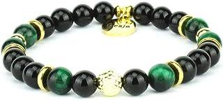 Braccialetto onice nero e occhio di falco verde con argento 925 | ARYA