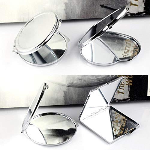 LASISZ Miroir de vanité Portable en Acier Inoxydable Miroir Rond carré Coeur Ovale Mini Miroir Pliant Miroir de Poche Accessoires de beauté, Forme de Coeur