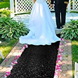 Aisle Runners for Weddings -2FTx15FT- Black Sequin Aisle Runner Glitter Aisle Runner Carpet Aisle Runner for Wedding Ceremony Party Prom Event (2FTx15FT, Black)