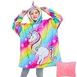 Oversized Hoodie Sweatshirt Blanket for Kids Wearable Blankets 3D Unicorn Hooded Blankets Sherpa Soft Fleece Blanket with Pockets Portable Folded Travel Pillow