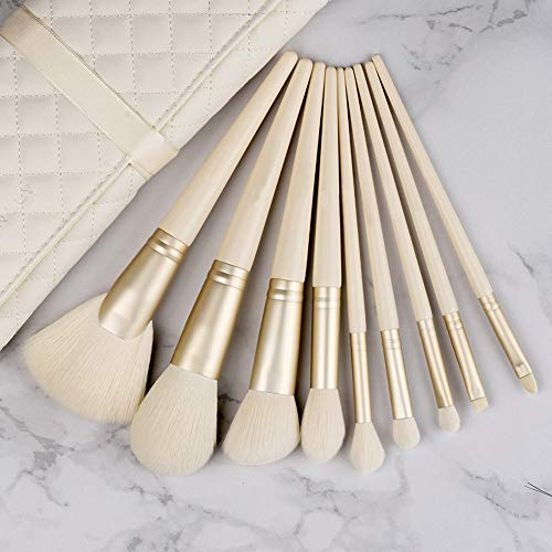 BGcrsl Pinceaux de Maquillage, 9 PCS Set de pinceaux de Maquillage Premium Synthetic Foundation Blending Blush Makeup Brush Kit-White