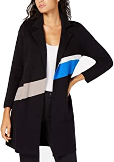 Alfani Colorblocked Trench Coat Sweater, Black XL