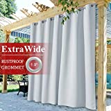 StangH Outdoor Patio Curtains White - Waterproof Curtains for Porch Light Blocking Sliding Door Extra Long Drapes for Pergola/Gazebo, Greyish White, W100 x L84 inch, 1 Panel