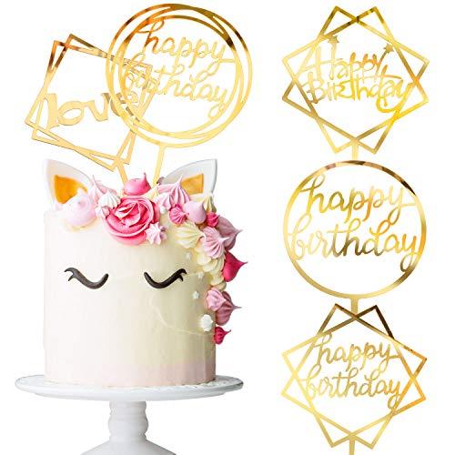 Whaline Acryl Happy Birthday Cake Topper Set Gold Tortenstecker Geburtstag, Glitter Topper Kuchendekoration (4 Stück)