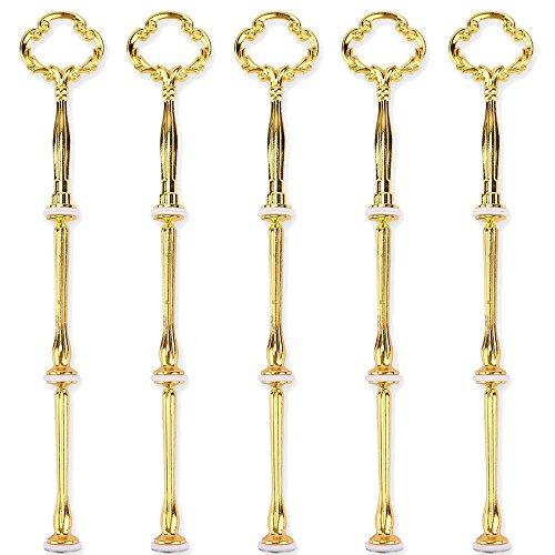 knowing Golden Farbe 3 Etage Kuchenstand Golden Blume Metallstange Mittellochausstech, für Hochzeitstorte Etagere Tortenständer Tortenhalter Torten,5 Sätze