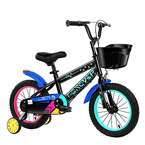 Andador En Bicicleta for Niños con Ruedas De Entrenamiento Y Freno De Mano for Niños De Escuela Primaria, Adecuado for Niños De 3 A 6 A 10 Años, Adecuado for Viajes Al Aire Libre (Azul)