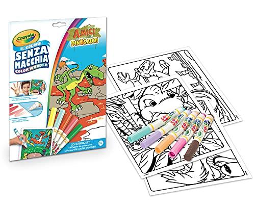 Crayola - Color Wonder, Coloring Set de 18 pages à colorier et 5 feutres sans trace, motif amis des dinosaures multicolores, 75-7129