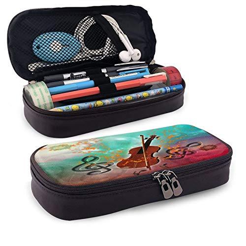 Violine mit Violinenbogen, großes Fassungsvermögen, strapazierfähiges Leder, Federmappe, Make-up-Tasche mit Reißverschluss für Schule und Büro
