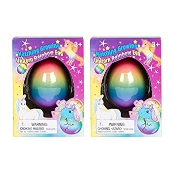 Set of 2 Surprise Growing Unicorn Hatching Rainbow Egg Kids Toys Assorted Colors