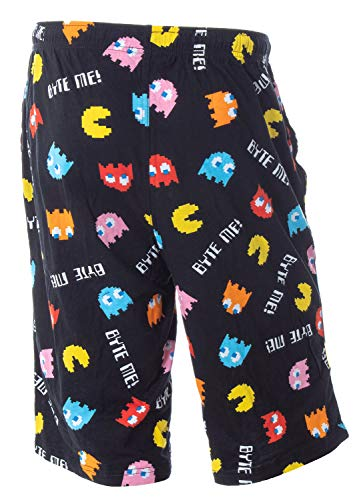 Pacman Men's Byte Me! Classic Arcade Game Allover Pattern Louge Sleepwear Pajama Shorts