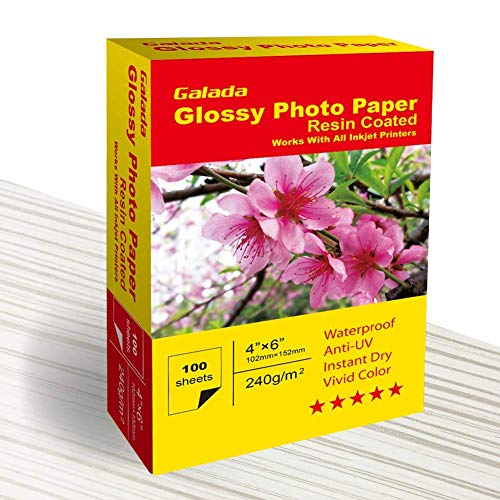 Galada Photo Paper 100 Sheets 4x6 Photo Paper High Glossy Vivid Color Waterproof Photographic Paper Works with All Inkjet Printers (4x6 Glossy Paper 100sheets)