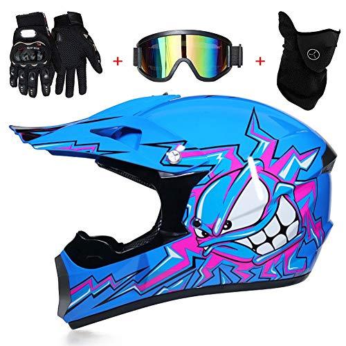 AMITD Motocross Cascos de Motocicleta Estampado de Pulpo Azul, Incluyendo Regalos Guantes y Goggles y Máscara,D.O. T Certificación niños Quad Bike ATV Go Karting Casco, S