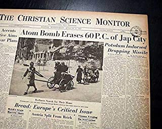Historic ATOMIC BOMB Drops on HIROSHIMA Japan 1945 World War II WWII Newspaper THE CHRISTIAN SCIENCE MONITOR, Boston, Aug. 8, 1945