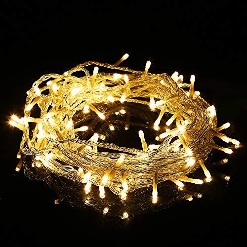 Luces de Arbol de Navidad, 10M 100 LED IP65 Impermeable Guirnalda Luces con 8 Modos, Cadena de Luz para Exterior, Jardín, Casa, Fiesta, Boda (Blanco Cálido)