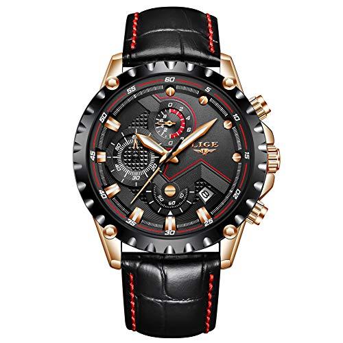 LIGE - Reloj de Pulsera para Hombre, Resistente al Agua, de Acero Inoxidable, con cronógrafo y Fecha, Color Negro