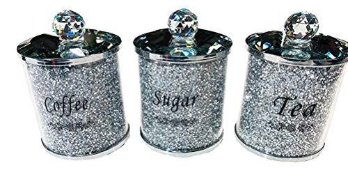 tJexePYK Tov Diamante machacado té CFEE azúcar Botes jarras de Almacenamiento de Plata Pasamanería de Cristal Lleno