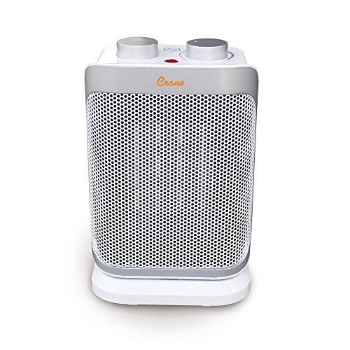 "Crane Mini Tower Heater, Personal Ceramic Heater, Oscillating Function, 1500 Watt, Adjustable Thermostat, Overheat Protection, 10 Inch, ""10"""" mini tower"" (EE-6492) (Renewed)"