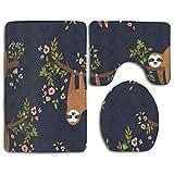 Goodsthing Tapis de Bain Cute Yellow Sloth Bath Mat,3 Piece Bathroom Rug Set, Flannel Non Slip Toilet Seat Cover Set,Large Contour Mat