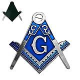 Imason Square & Compass Masonic Car Emblem Freemason Cut-Out Silver & Blue Auto Decal - 3' Tall