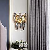 CRABOT Apliques pared Dormitorio LED E14 Lámpara de pared Cristal Aplique pared Latón Lámpara pared Americana Mesita Noche Sala de Estar Escalera Pasillo Iluminación Decorativa de Interior,2-Luces