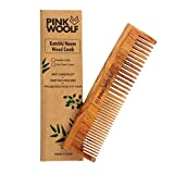 Pink Woolf Organic Neem Wood Comb (LONG) | Women & Men | Natural & Eco Friendly | Wide Tooth Comb, Anti-Bacterial Styling Comb for All Hair Types | Made in India