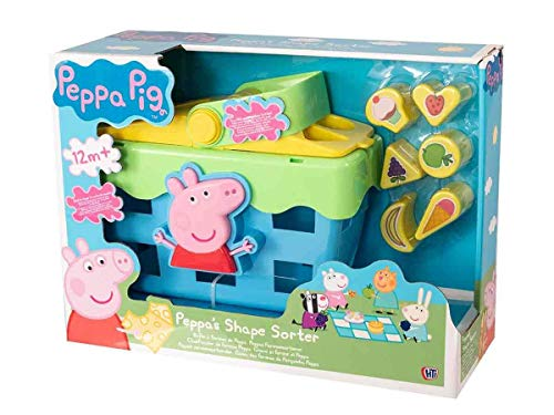 HTI Toys 1684446.INF 1684446-Steckbox Picknick Shape SORTER Picnic Peppa Pig Steckspielzeug Picknickkorb Set mit Soundeffekten, verschieden
